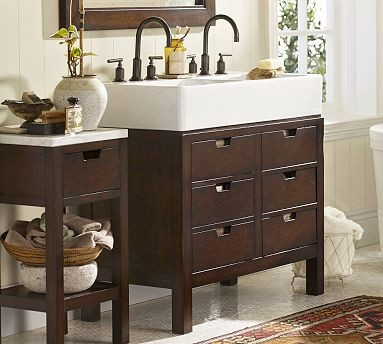 Seville double sink console espresso stain traditional bathroom vanities and sink consoles for How to stain a bathroom vanity