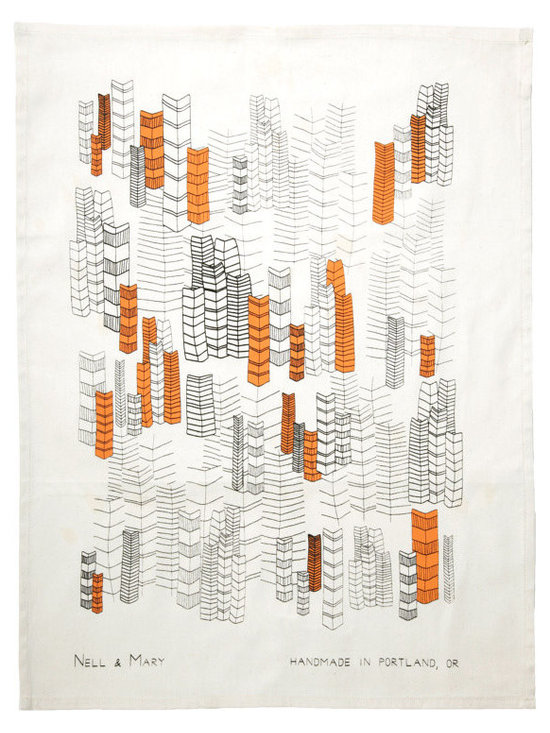 Feather Cities Tea Towel, Apricot by Nell & Mary -