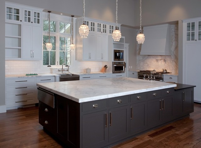 ... huge island in Calacatta Gold marble contemporary-kitchen-countertops