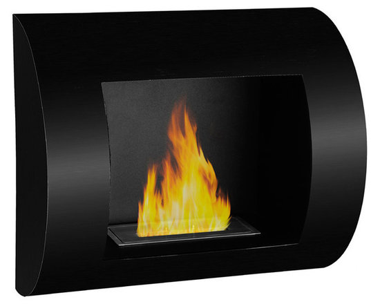 Moda Flame - Leon Wall Mounted Ethanol Fireplace - Black - The Leon fireplace offers a contemporary curved design, creates a valiant statement in any room settings.
