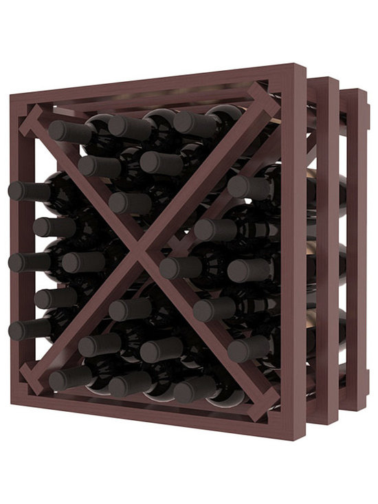 Lattice Stacking X Wine Cube in Pine with Walnut Stain + Satin Finish - Designed to stack one on top of the other for space-saving wine storage our stacking cubes are ideal for an expanding collection. Use as a stand alone rack in your kitchen or living space or pair with the 16-Bottle Cubicle Wine Rack and/or the Stemware Rack Cube for flexible storage.