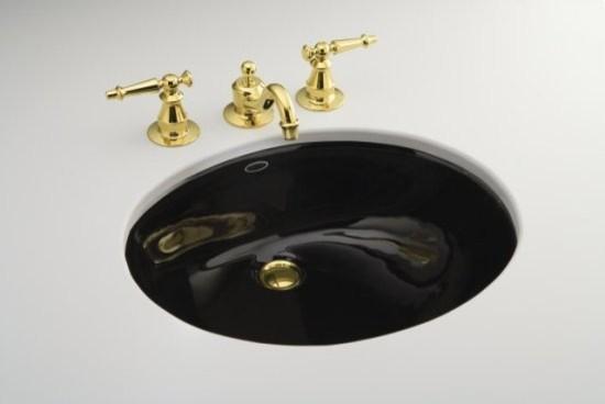 """Kohler K-2210-7 Black Caxton Caxton 17"""" Bowl Undermount Bathroom Sink ..."""