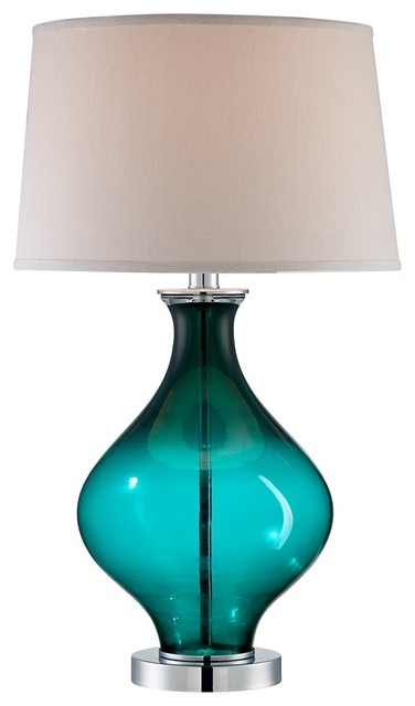 Contemporary Teal Blue Glass Decanter Table Lamp contemporary-table-lamps