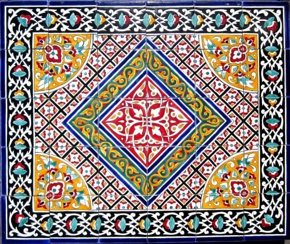 Hand painted mosaic murals mediterranean tile for Decorative tile mural