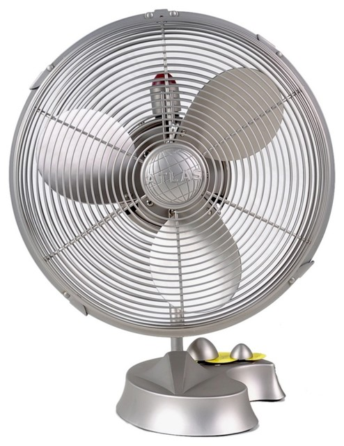 Modern Desk Fan : Contemporary cinni brushed nickel desk fan