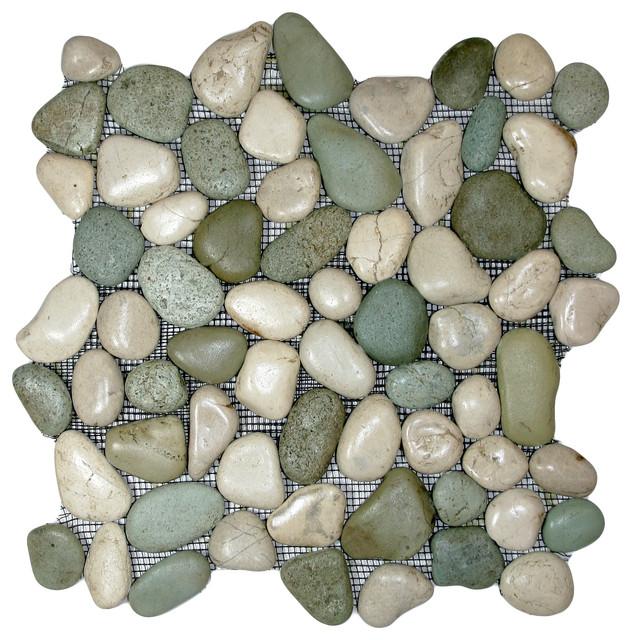 Glazed Green & White Pebble Tile contemporary-tile
