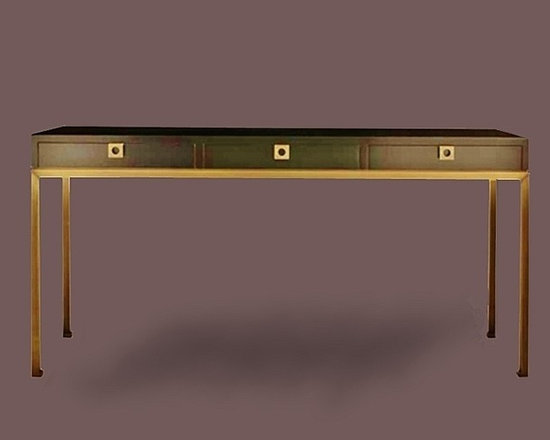 Cool Stuff - Contemporary console  table with (3) drawers on a  metal base.