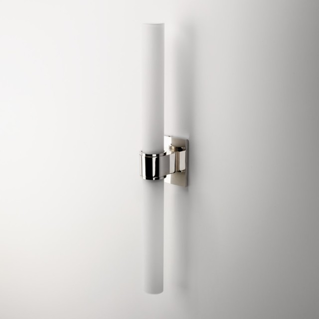 Opus Wall Mounted Double Arm Sconce With Cylinder Shade Traditional Bathr