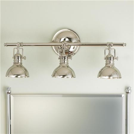 Pullman bath light 3 light transitional bathroom vanity lighting by shades of light for Pendant light bathroom vanity