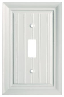 Liberty Hardware 126358 Beadboard WP Collection 3.15 Inch Switch Plate - White modern-switch-plates-and-outlet-covers