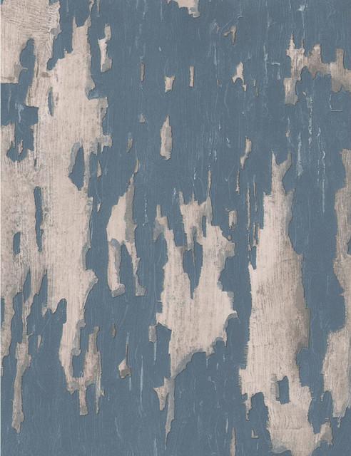 distressed plaster industrial loft wallpaper blue