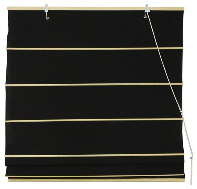 Cotton Roman Shades - Black - (48 in. x 72 in.) contemporary-roman-shades