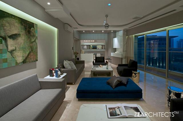 HIGH END APARTMENT, MUMBAI contemporary-living-room