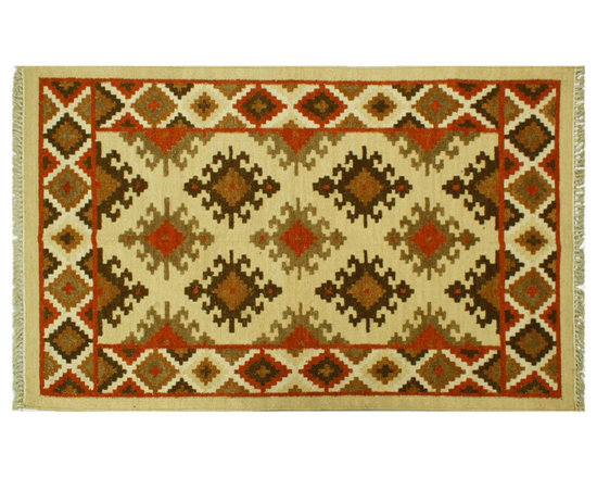 Anatolian Kilim Area Rug, 4X6 Hand Woven Flat Weave 100% Wool Beige Rug SH6413 - Soumaks & Kilims are prominent Flat Woven Rugs.  Flat Woven Rugs are made by weaving wool onto a foundation of cotton warps on the loom.  The unique trait about these thin rugs is that they're reversible.  Pillows and Blankets can be made from Soumas & Kilims.