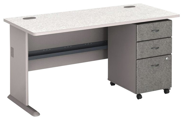 "Bush Series A 60"" Computer Desk with 3-Drawer File Cabinet in Pewter - Transitional - Desks And ..."