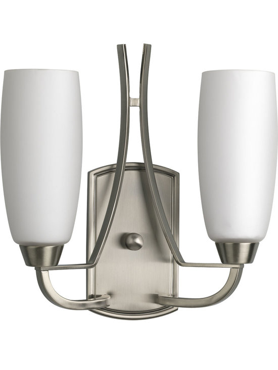 Progress Lighting Wisten Two-Light Wall Sconce - Two-light wall sconce with arching, elegant arm and etched glass. Incorporates a minimalist design style and represents a shift in trends to highlight a less complicated, clean design.