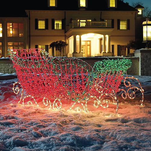 Santa S Lighted Sleigh Frontgate Christmas Lights