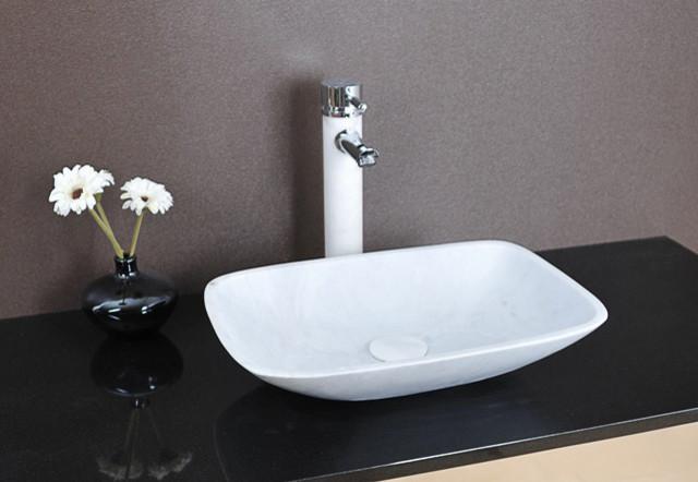 Lima - White Marble Above Counter Basin modern-bathroom-sinks