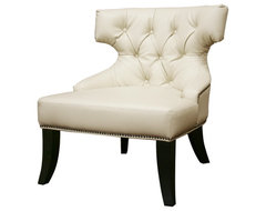 Baxton Studio Taft Off-White Leather Club Chair traditional-chairs