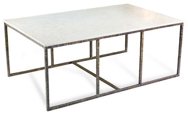 Pax Modern Contemporary Ivory Cream Marble And Iron Coffee Table Transitional Coffee Tables