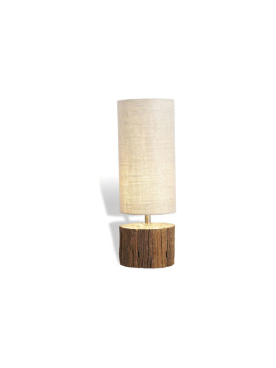 """Horchow - Sebasco Wood Lamp - We love the organic feel of this petite lamp. It uses repurposed wood and a soft linen shade to create a natural, soothing glow. Handcrafted of wood and metal. Inline switch on cord; used one 60-watt bulb. 5""""Dia. x 18""""T. Imported."""
