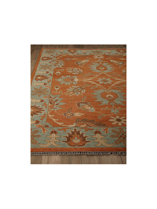 Horchow - Jemez Rug, 9' x 12' - Absolutely stunning, this rug features an overall floral motif rendered in heavily dyed, weathered rust with Egyptian blue details. Hand knotted of wool. Sizes are approximate. Imported. See our Rug Guide for tips on how to measure for a rug, ch...