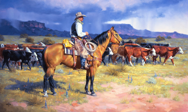 Great american cowboy wall art rustic wallpaper by for Cowboy wall mural