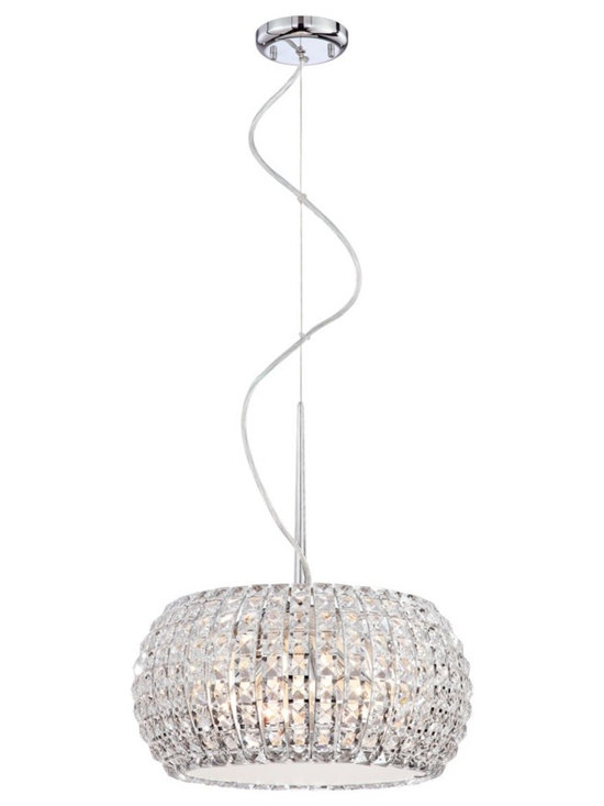 "Possini Euro Design - Contour Crystal 15 3/4"" Wide Pendant Light - A chandelier with pure sparkle and a graceful modern form. This pendant light design is alive with glittering clear crystal. The arrangement hangs from a chrome finish frame. Halogen fixtures within illuminate this pendant with wonderful prismatic light effects. Chrome finish. Clear crystal. Includes six 40 watt G9 halogen bulbs. 15 3/4"" wide. 7 1/2"" high. Maximum of 10 feet hang height. 4 1/2"" wide canopy. Hang weight of 12 1/2 lbs.  Chrome finish.   Clear crystal.   Includes six 40 watt G9 halogen bulbs.   15 3/4"" wide.   7 1/2"" high.  Maximum of 10 feet hang height.   4 1/2"" wide canopy.   Hang weight of 12 1/2 lbs."