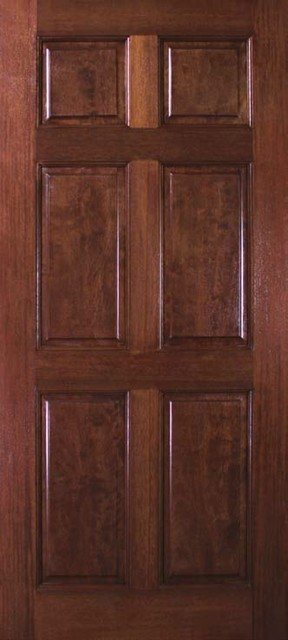Slab entry single door 80 wood mahogany 6 panel solid for Exterior door slab