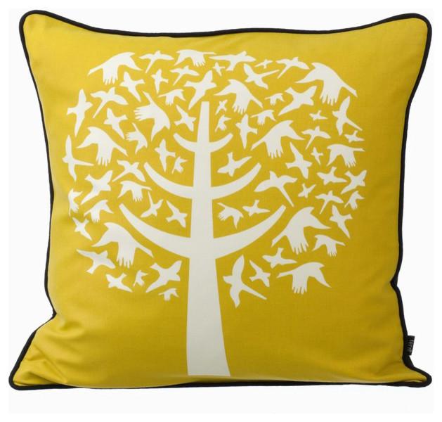 Ferm Living - Bird Leaves Down Pillow Yellow modern-decorative-pillows