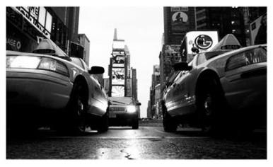Broadway Taxis Canvas Wall Art by Yale Gurney modern-artwork