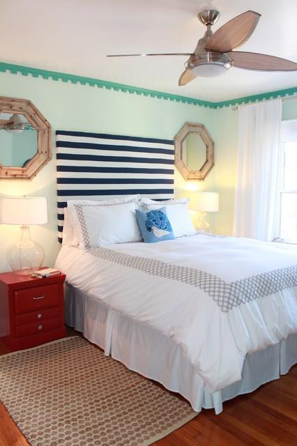 Bedroom - DIY Stripe Headboard tropical-headboards