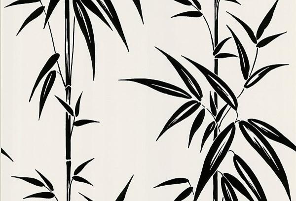 Glossy Black Bamboo Stalks on Off-White Wallpaper contemporary-wallpaper