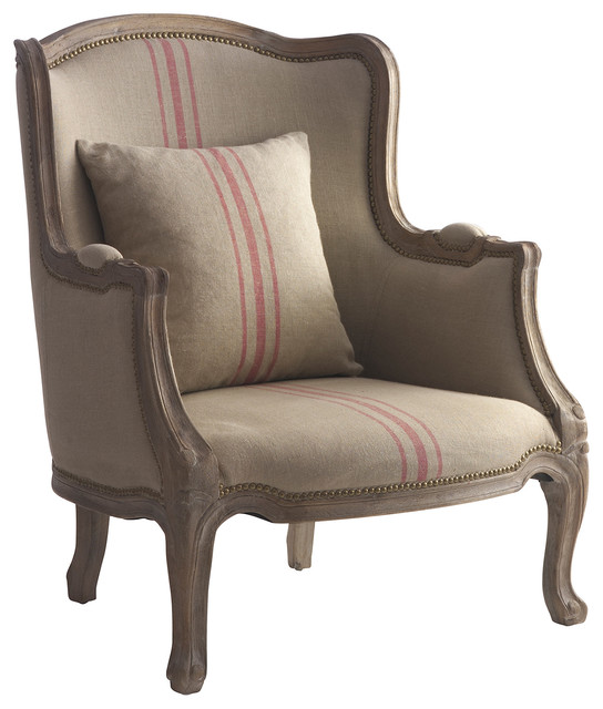 Rennes rustic french country linen red stripe arm chair transitional armchairs and accent for Images of couch for hall rennes