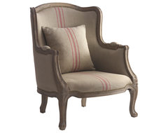 Rennes Rustic French Country Linen Red Stripe Arm Chair transitional-armchairs-and-accent-chairs