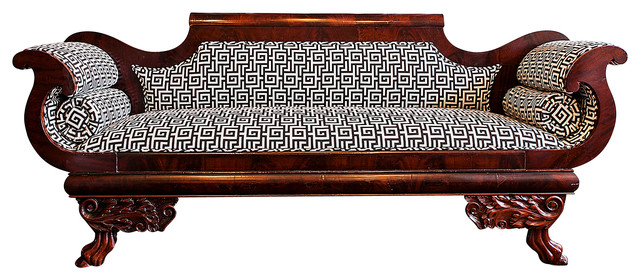 Consigned  Empire Settee Newly Upholstered in Greek Key traditional-sofas