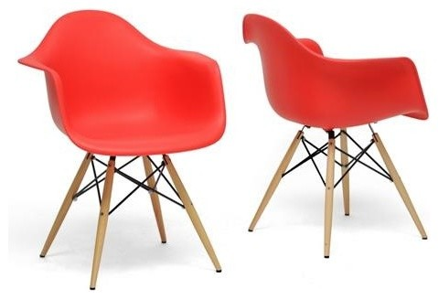 Wholesale Interiors - Pascal Red plastic Mid-Century Modern Shell Chair (Set of midcentury-chairs