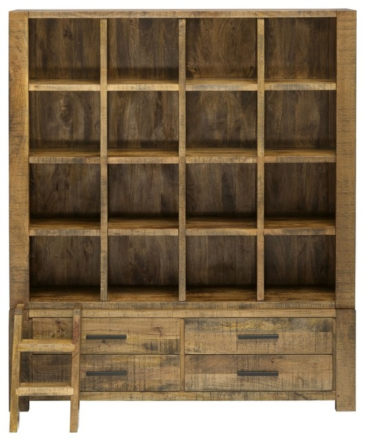 Titan Bookcase Library Unit Rustic Bookcases By