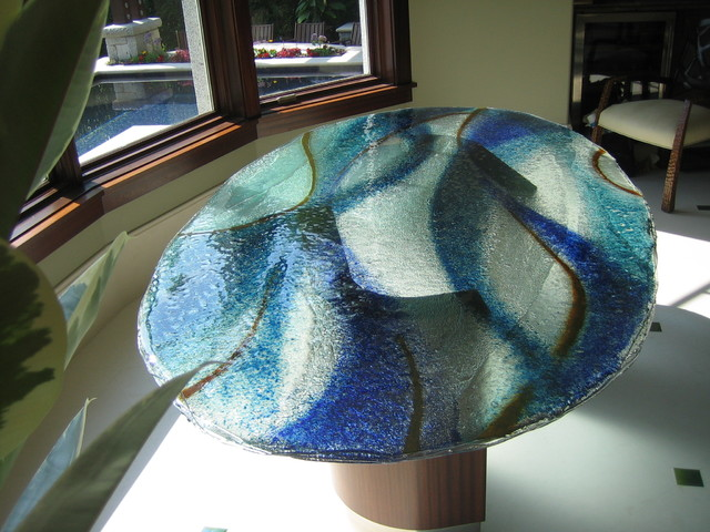 Layered Glass Table Top With Colored Frit Contemporary