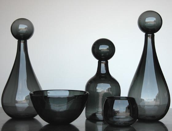 Elizabeth Lyons Glass Smokey Grey Collection contemporary-tabletop