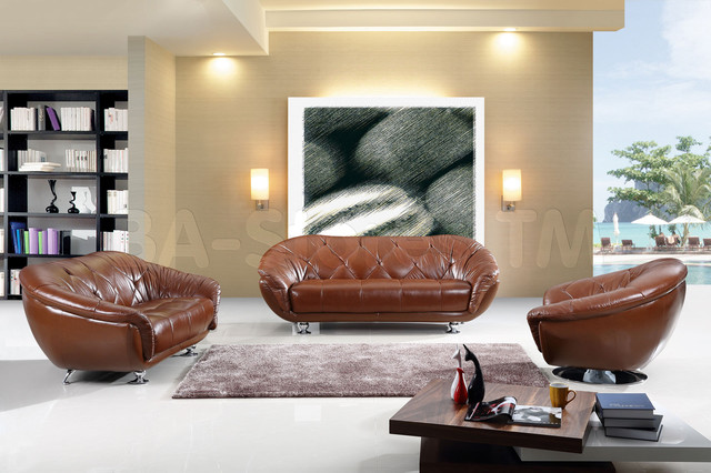 Modern Italian Leather Living Room Set in Brown Finish - modern