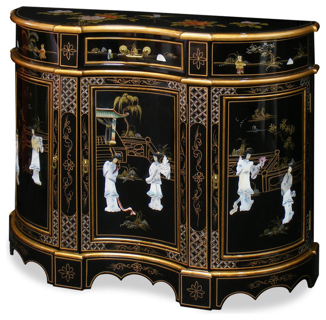 Black Lacquer Marquetry Console - Asian - Storage Cabinets - by China Furniture and Arts