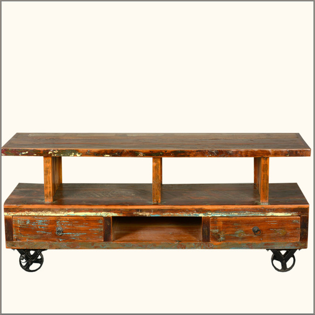 Industrial Reclaimed Wood Media Console Tv Stand