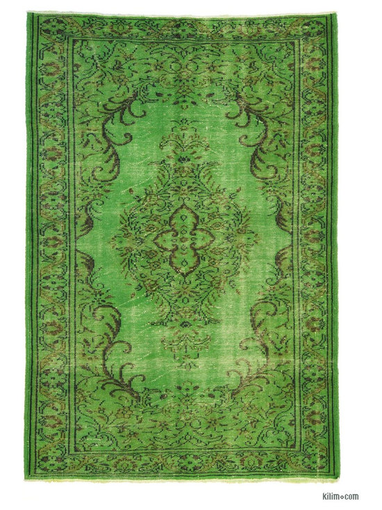 Overdyed Anatolian Vintage Rug - This piece is an Overdyed Anatolian Vintage Rug created by first neutralizing the colors and then over-dying with green to achieve a contemporary effect and bring old hand-made rugs back to life. The result is almost like an abstract painting.