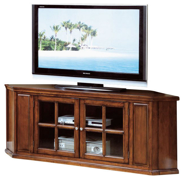 Monarch Specialties 62 Inch Corner TV Stand in Oak - Transitional - Media Storage - by ...