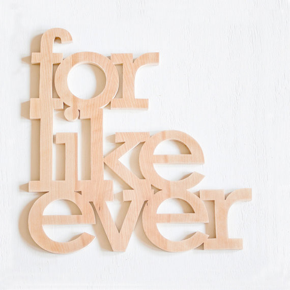 For Like Ever Wood Sign by William Dohman modern accessories and decor