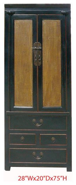 Chinese Black Lacquer Rattan Face Tall Cabinet Armoire Cabinet contemporary-dressers