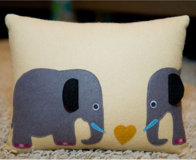 Stella and Petey Elephant Pillow eclectic-pillows