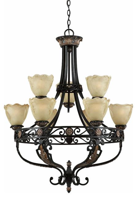 Triarch 31184 Corinthian Bronze Iron 9 Light Chandelier traditional-chandeliers