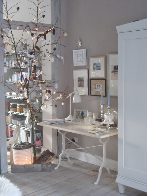 Twinkling branch for the Holiday season eclectic dining room